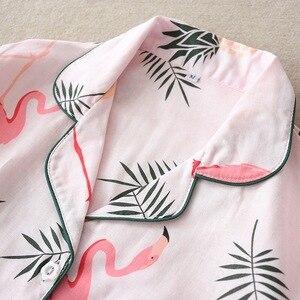 Image 4 - Pijamas de algodón de gasa de 100% de dibujos animados de flamencos, Conjunto de pijama de verano para mujer, manga larga fina, informal, ropa de dormir cómoda, pijamas de primavera para mujer