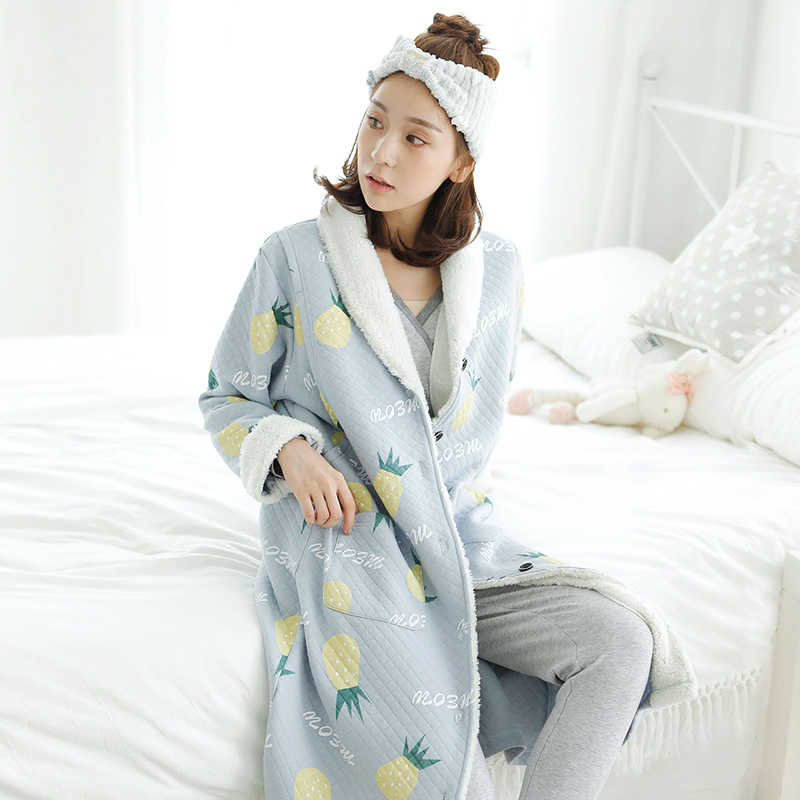 4b70470aba Winter Thermal Maternity Nightgown Maternity Pajamas Sweatshirt Robe  Nursing Sleepwear Pajamas Robe For Pregnant Women