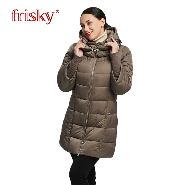 f8f55fb36bf 2018 Frisky новинки куртка женская зимняя модная куртка Для женщин с  капюшоном Теплая парка пальто Высокое