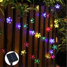 50 светодиодный s 7 м Персиковый Цветок сакуры Солнечная лампа