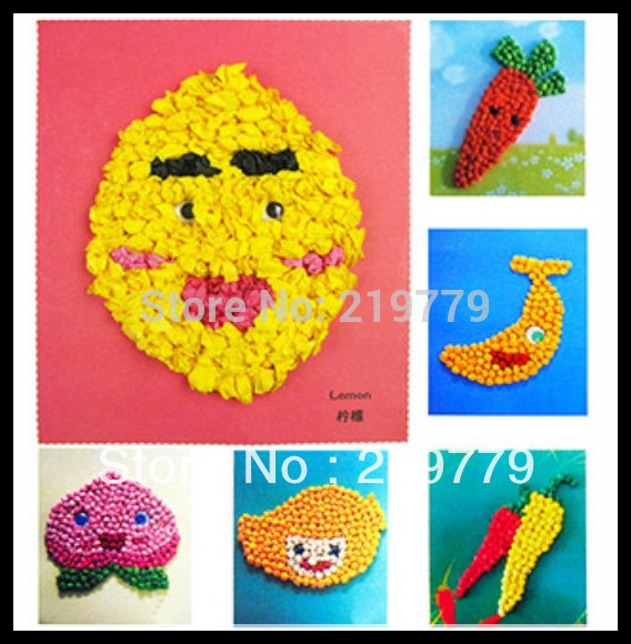 Early Learning Tissue Paper Art Stickers Fruit Vegetables DIY Handmade Crumpled Ball Craft For