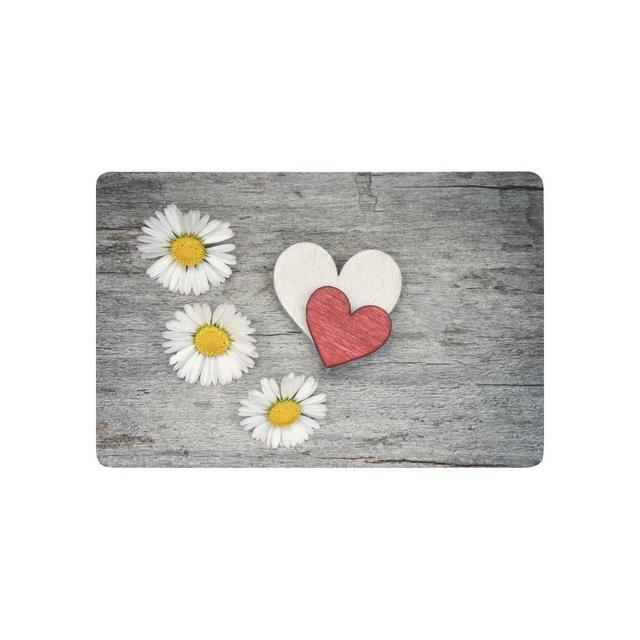 Love Hearts Anti Slip Door Mat Daisy Flowers Indoor Outdoor Entrance