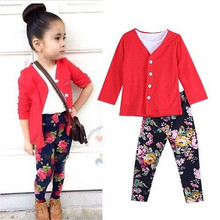 2PCS Fashion Girls Clothes Outfits Red Tops Blouse Floral Pants Set 1~7Y xmas