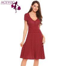 a1295f20d08f ACEVOG Vintage Swing Dress Women Polka Dots V Neck Short Sleeve Slim Dresses  Summer Autumn Retro 60s Femme Robe Party Vestidos