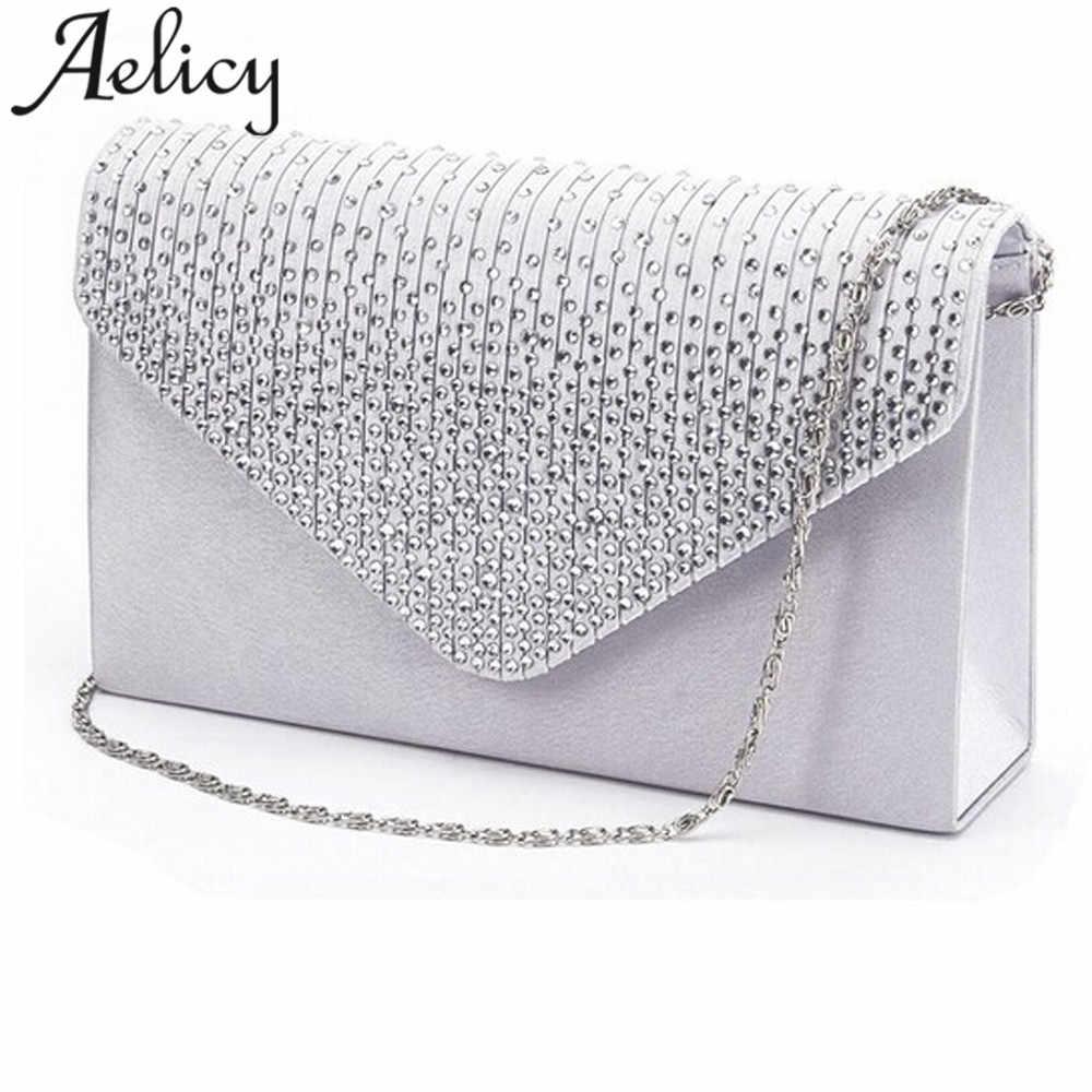 New Aelicy Ladies Evening Satin Bridal Diamante Ladies Clutch Bag Party  Prom Envelope Shoulder Crossbody Bags 1d9ad152fb95