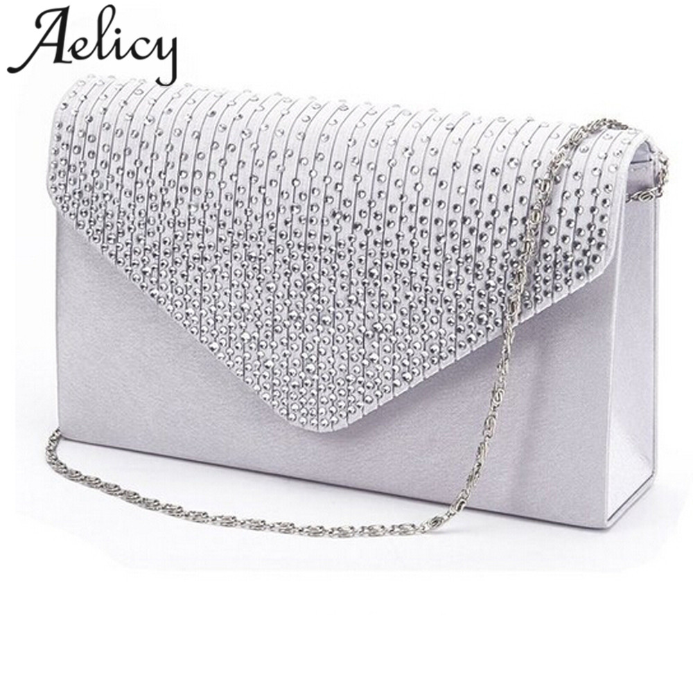 New Aelicy Ladies Evening Satin Bridal Diamante Ladies Clutch Bag Party Prom Envelope Shoulder Crossbody Bags bolsa feminina