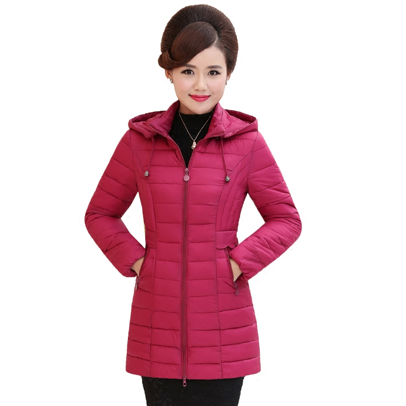 2017 Hot Sale New Full Solid Slim Ukraine Middle - Aged Winter Cotton Clothing Women In The Section Of Small Size Jacket Coat sky blue cloud removable hat in the long section of cotton clothing 2017 winter new woman