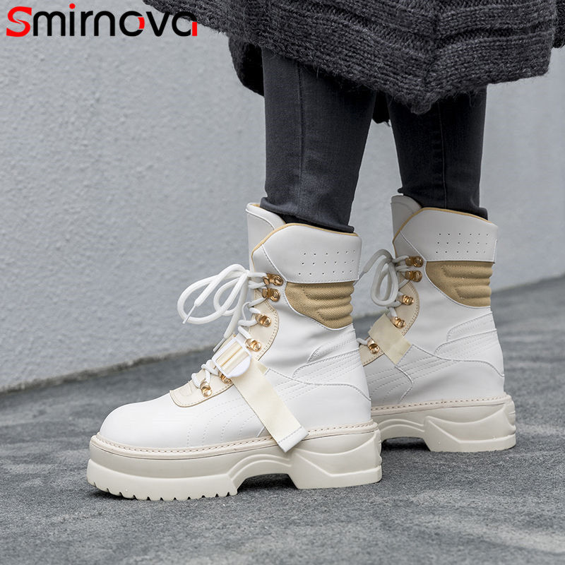 Smirnova 2020 lace up jesień zima buty okrągłe toe wygodne kobiety buty z prawdziwej skóry platformy botki dla kobiet w Buty do kostki od Buty na  Grupa 1