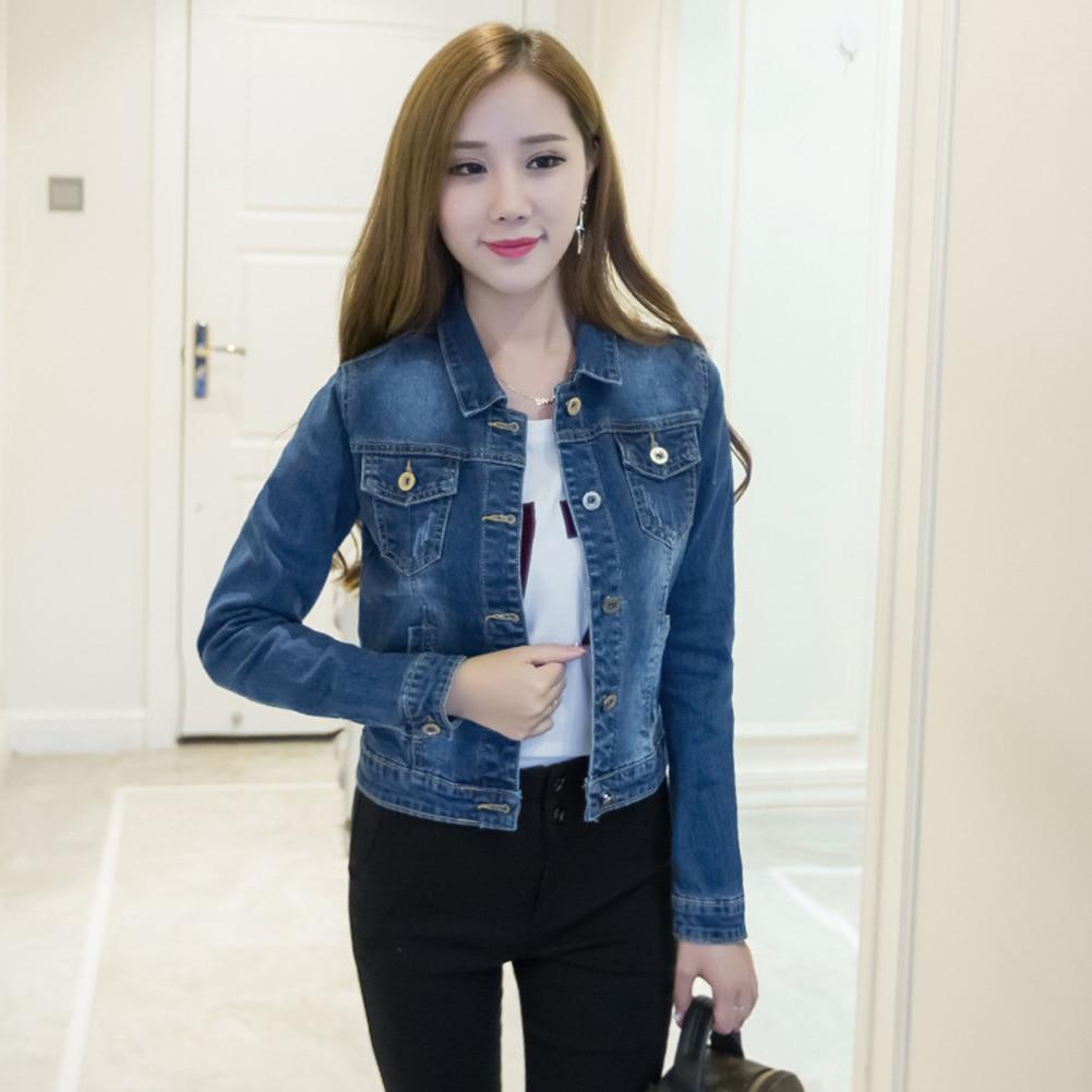 HTB17npQaF67gK0jSZPfq6yhhFXaB Women Short Jeans Jacket Slim Turn Down Collar Long Sleeve Button Denim Outwear New Chic Vintage