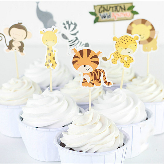 24pcs Jungle Safari Cute Cupcake Picks Animal Cake Toppers Cartoon Cupcake Inserts Card  ...