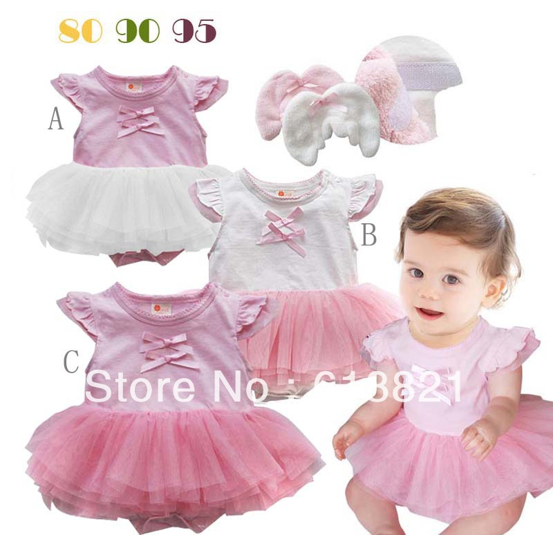 476626941 Wholesale Baby Clothes Online Baby Kids Girls Cute Angel Wings Design Pink  and White Lace Dress Free Shipping. Price:
