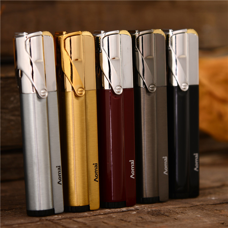 Compact Jet Lighter Gas Torch Lighter Strip Fixed Fire Windproof Metal Cigar Lighter 1300 C Butane Lighter Cigarette Accessories-in Matches from Home & Garden