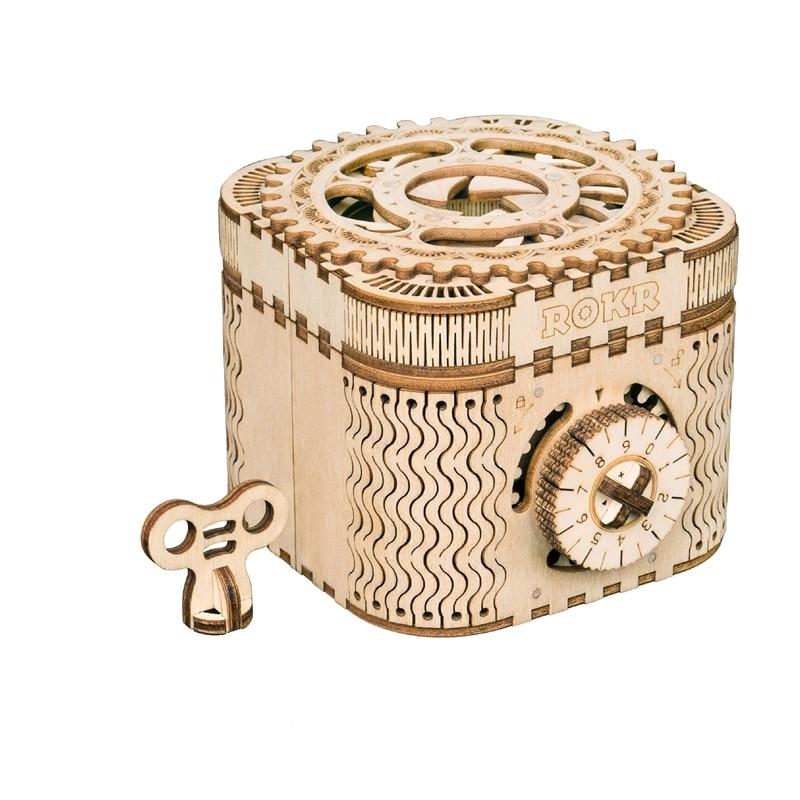 Robotime Home Decor DIY Wood Miniature Treasure Box Vintage Figurine Gear Model Decoration Accessories for Birthday Gift LK502