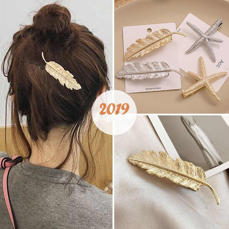 Women leaf feather hair clip metal geometry duckbill hairpin barrette starfish hair ornament 2019 fashion hair accessories F34