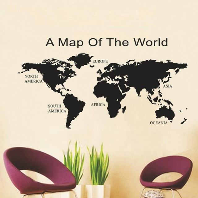 Aliexpress buy removable global world map mapa wallpaper removable global world map mapa wallpaper stickers wall vinyl wall art map decal sticker home decor gumiabroncs Images