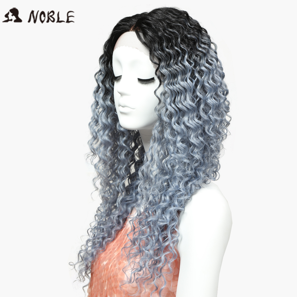 Noble Wigs Deep Wave Lace Front Wigs Synthetic Hair 26 Inch Silver Gray Ombre Color Heat Resistant Cosplay Womens Wigs Free Ship