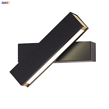 IWHD Nordic LED Wall Lamp Modern Wood Lighting Bedroom Bathroom Light Black White Wall Lights Wandlamp Applique Murale Luminaire fabic shade nordic modern led wall lamp for home bedroom stair light wall sconce applique murale luminaire wandlamp