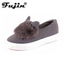 slip ons shoes platform flats 2017 New winter boots Fashion Real Fur Shoes Woman ears Shoes Female Low Cut Casuals leisures lady