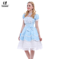 New Blue Sweet Lolita Dresses Women Gothic Maid Cosplay Costume Ball Gown Vintage Bowknot Dress GC133A