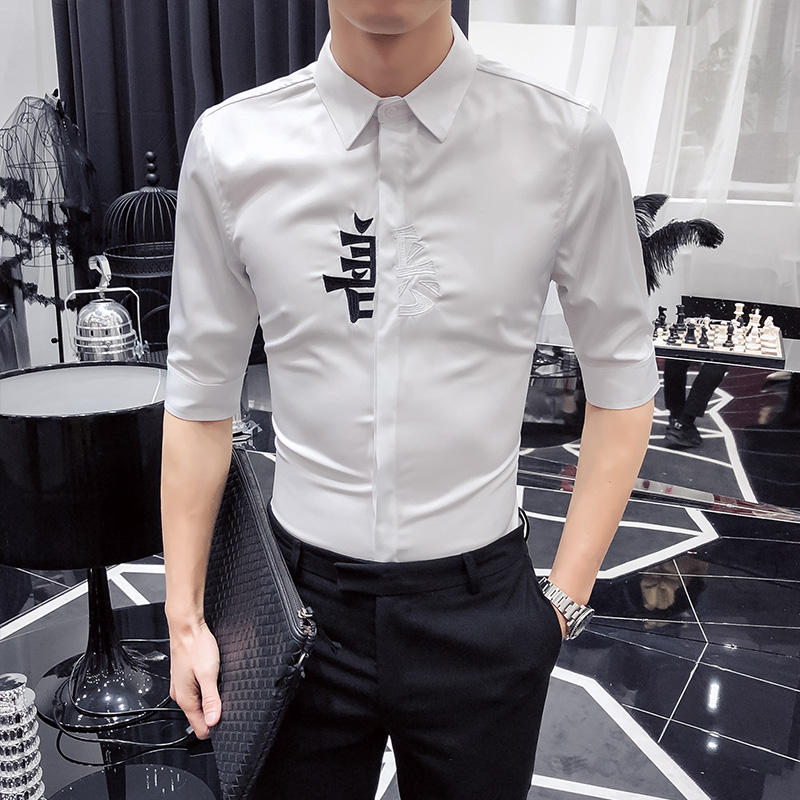 Summer New Men Shirt Brand 2019 Slim Fit Camisa Hombre Simple All Match Solid Half Sleeve Shirt Men Casual Formal Wear Dress 3XL