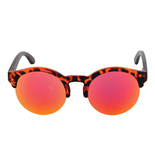 Round Frame Wooden Sunglasses For  Women
