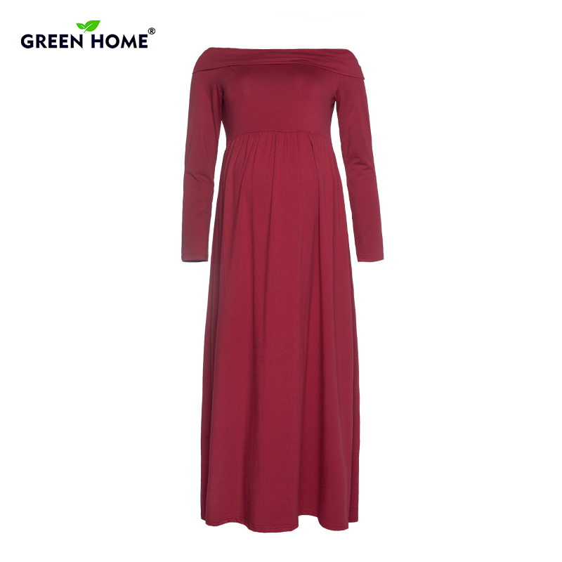 Green Home Solid Maternity Long Dress Elegant Evening Dress Pregnant Women Off Shoulder Drape Dresses Pregnancy Clothes