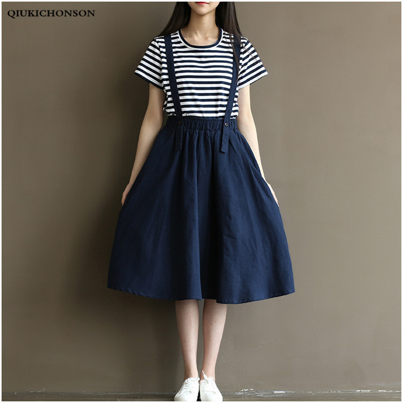 Preppy Style Striped Tshirt And Cotton Linen Suspender Skirt Matching Sets Summer 2 Pcs Set Women Skirt Sets