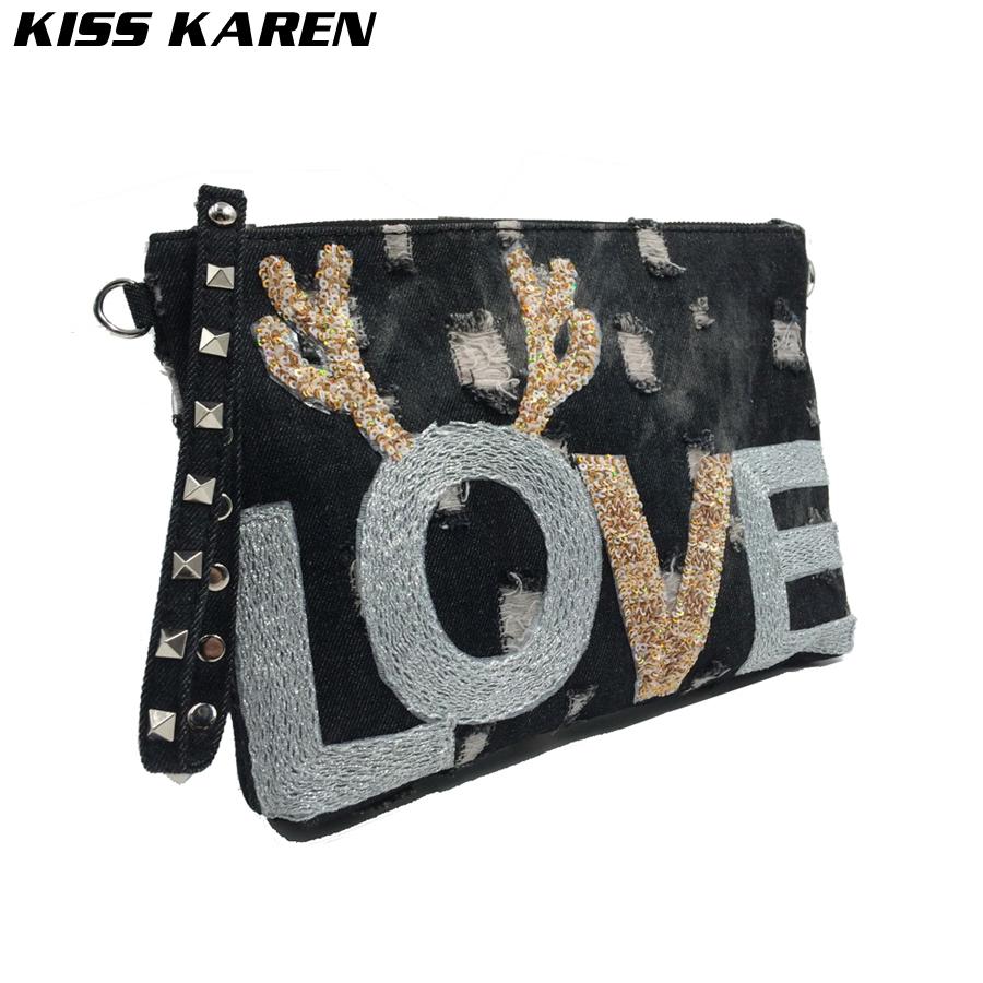 Prix pour BAISER KAREN Mode Appliques Bracelets Rivet Denim Sac D'épaule de Femmes Sacs Femmes Messenger Sacs Jeans Rabat Bracelet Sac
