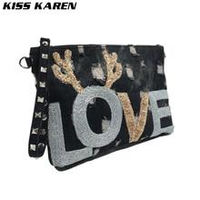 KISS KAREN Fashion Appliques Wristlets Rivet Denim Bag Women's Shoulder Bags Women Messenger Bags Jeans Bag Womens Purse