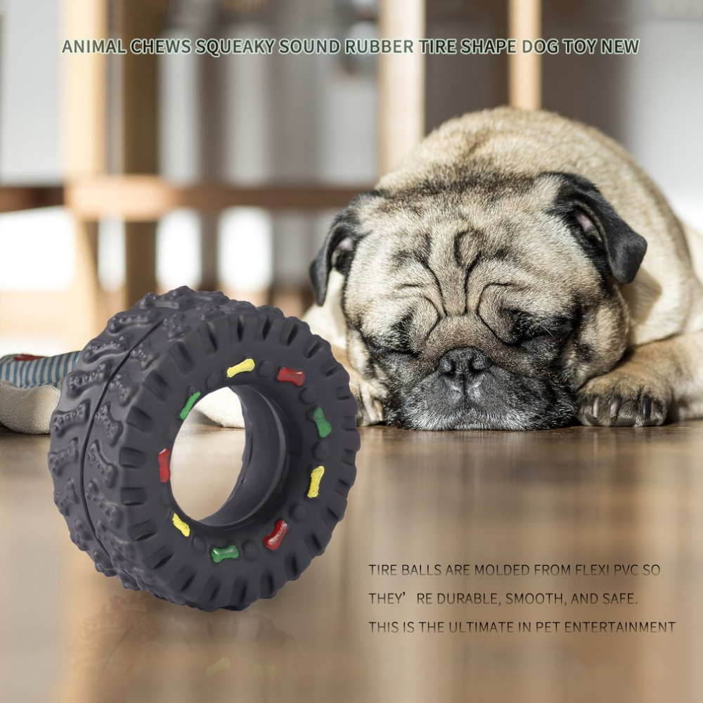 Animal Sounds Tire Shape Pet Dog Toy Puppy Cat Chews Squeaky Rubber Toys Squeaking Tire Pet Toys