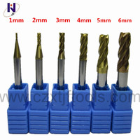 6pc Set HRC58 4 flutes 1mm 2mm 3mm 4mm 5mm 6mm Tungsten Carbide End Mill TiXCo Coating
