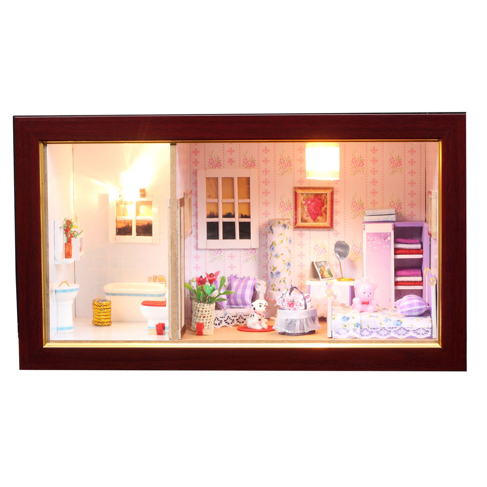 ФОТО 12801 Wooden handmade DIY Doll House Furniture Diy Miniature 3D Wooden Miniaturas bedroom with Dust Cover Christmas gifts