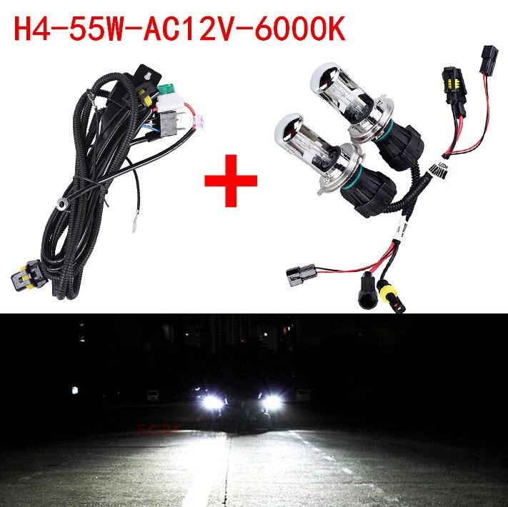 2X Bi Xenon 55W H4 12V AC HID Automotive Headlight Replacement Bulbs H4-3 BiXenon Hi/Lo Beam Lamp only bulb + wire 4set 35w car xenon headlight h4 9003 hi lo bi xenon hid repalcement ac bulbs