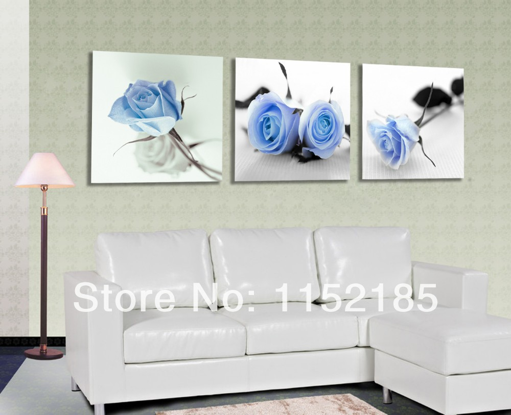 free shipping modern purple rose flower wall art canvas picture 3 piece wall art oil paintings. Black Bedroom Furniture Sets. Home Design Ideas