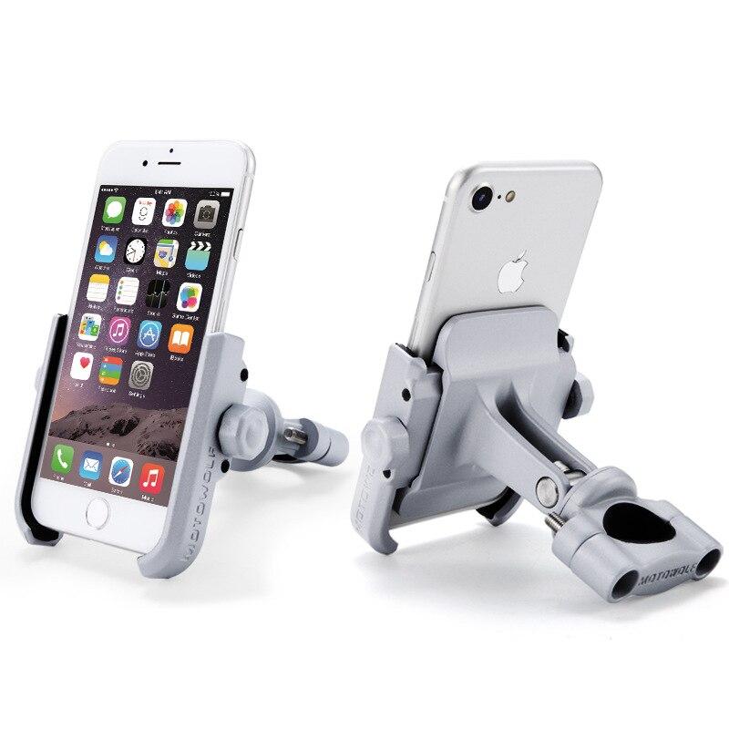 En Alliage d'aluminium Moto Support de Téléphone Avec Stand Support pour iPhone Universel Rétroviseur Vélo Titulaire Soporte Celular Moto