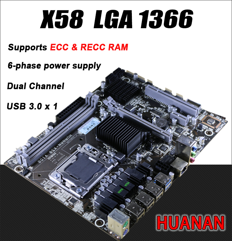 HUANAN For Intel planform desktop motherboard new X58 board LGA 1366 support REG ECC server memory All solid board x 58 16GB 8GB full compatible for intel and for a m d motherboard pc12800 1600mhz desktop memory ram ddr3 8gb
