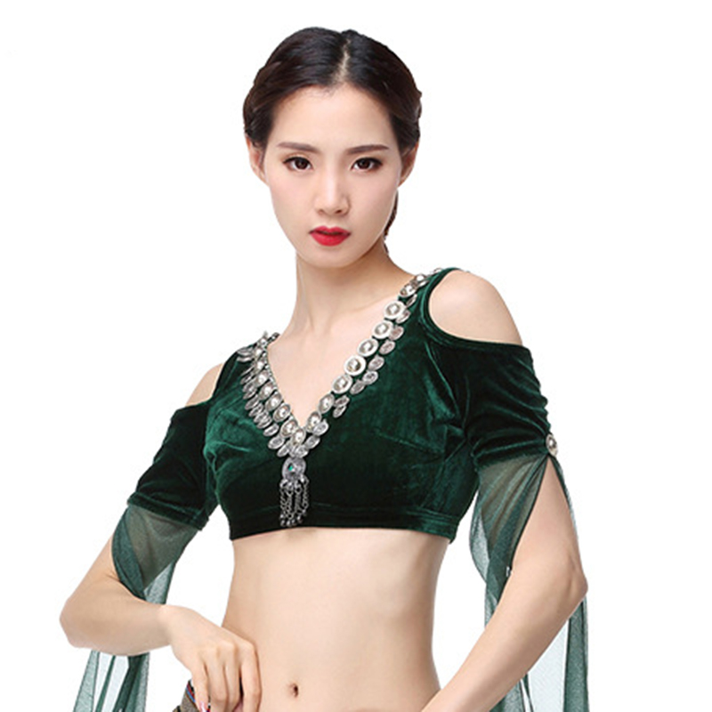 2018 ATS Tribal Belly Dance Clothing Flannelette Tank Top Choli Tops Off Shoulder Backless Long Sleeves Women Gypsy Tribal Dance