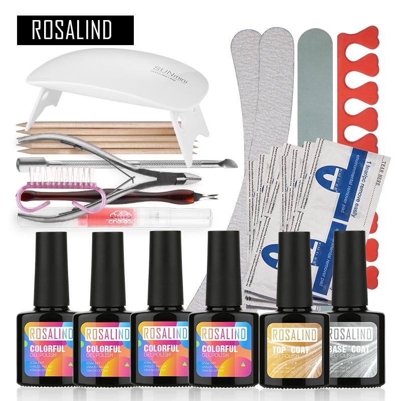 ROSALIND UV Gel Kit Soak-off Gel Polish Gel Nail Kit Nail Art Tools Sets Kits Manucure Ensemble