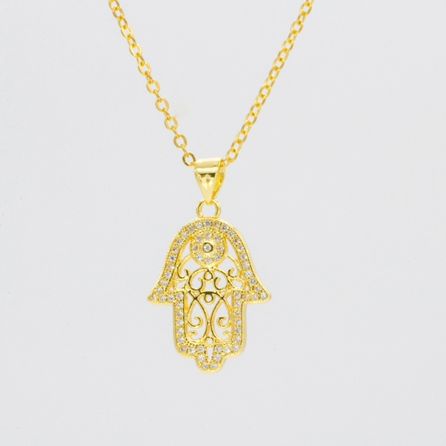 fatima com hand layered necklace pendant long of necklaces chain gold eye evil rose hamsa for women dp amazon