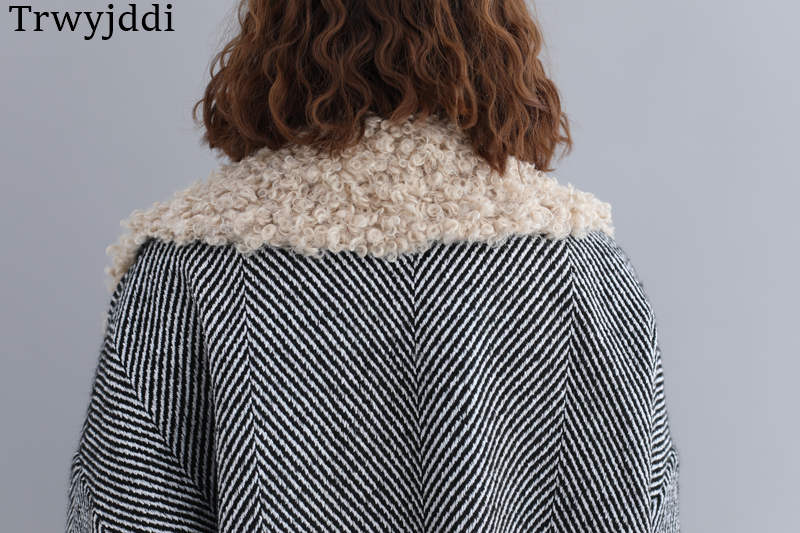 Photo N300 Hiver Grande Vestes Mode Automne Agneau Color Manteau Taille Femmes Rayé Laine Coréen 2019 Lâche De qBwZgTg6