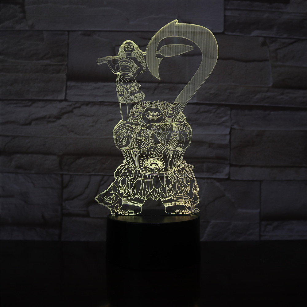 Moana Maui Moive Figure Decorative Kids Children Bedroom Decor Best Cool 3D Night Lamp USB Battery Nightlight LED Night light