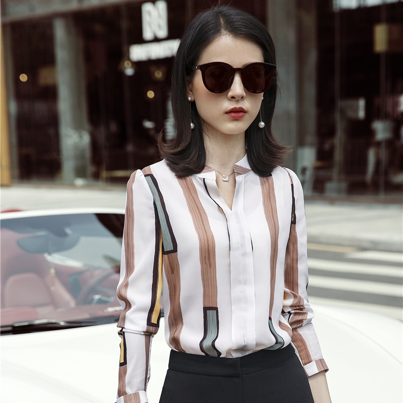 Women's Clothing Official Website Autumn Long Sleeve Shirt Women Plus Size Ladies Tops And Blouses 2019 Fashion Women Blouses Striped Plaid Ol Blouse Women