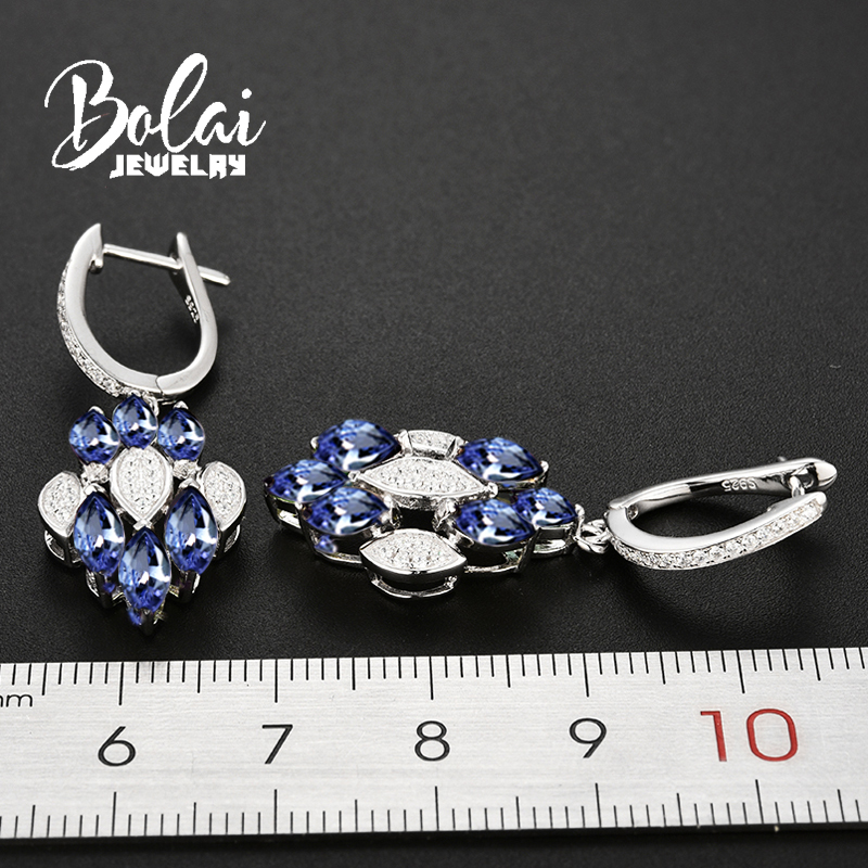 Bolaijewelry, natural tanzanite gemstone Clasp Dangle Earrings Pure 925 Sterling Silver Fine Jewelry For Women Girl party wear