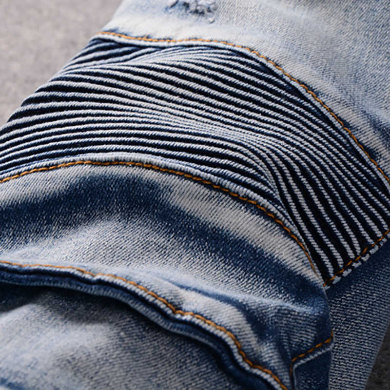 Sokotoo männer slim fit klassische blau biker jeans für moto Casual plus größe denim cargo hosen Mode zerrissenen jeans für mann