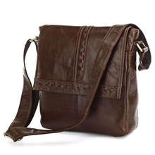 Nesitu High Quality Vintage Coffee 100% Guarantee Real Genuine Leather Cowhide Small Men Messenger Bags Shoulder Bags #M7125