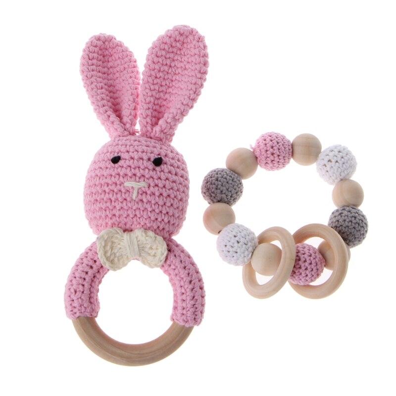 Cute Teetehr 2Pcs/Set Baby Wooden Teether Bracelet Crochet Bunny Teething Ring C