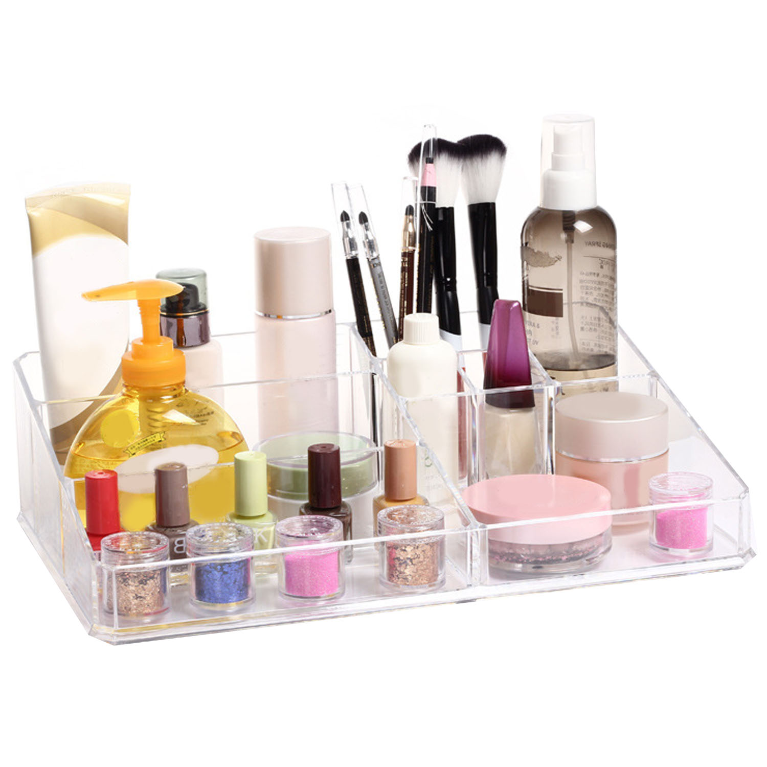 NC Clear Cosmetic Makeup Storage Display Organizer Box Lipstick Holder Stand Make up Brush Eyeshadow Nail Polish Case Container
