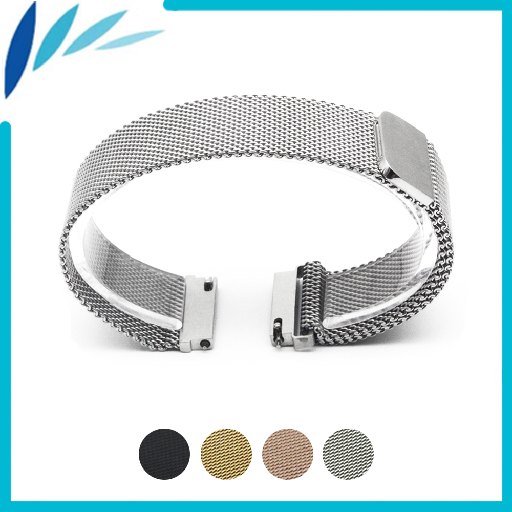 Stainless Steel Watch Band 16mm 18mm 20mm 22mm 23mm for Fossil Magnetic Clasp Strap Quick Release Loop Wrist Belt Bracelet Black цена