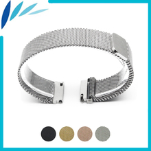 Stainless Steel Watch Band 16mm 18mm 20mm 22mm 23mm for Fossil Magnetic Clasp Strap Quick Release Loop Wrist Belt Bracelet Black все цены