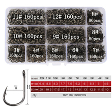 1600pcs/lot Mixed 3#-12# Pipe pay Ise Nigeria Fishing Hook Barbed Set in Fly Fishhooks Jig With Hole Tackle